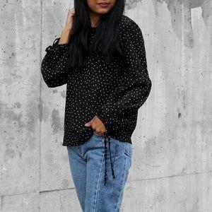 ❗️2/$20 Ardene B&W polka dot long sleeve blouse